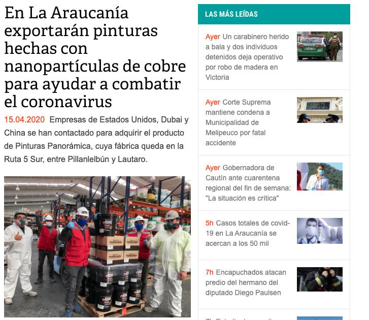 En La Araucanía exportarán pinturas hechas con nanopartículas de cobre para ayudar a combatir el coronavirus